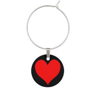 Solid Bright Red Cute Heart Wine Charm