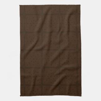 Solid Chocolate Brown Tone on Tone Grid Tea Towel