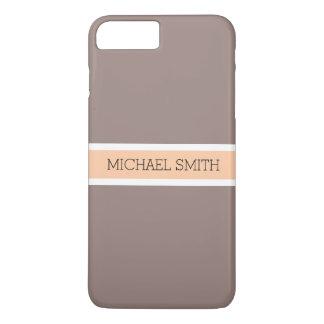 Solid Cinereous Modern Peach Ribbon Elegant Name iPhone 8 Plus/7 Plus Case