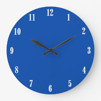 Solid Cobalt Blue White Numbers Round Wall Clock