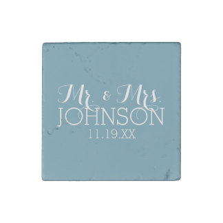 Solid Color Robin Egg Blue Mr & Mrs Wedding Favors Stone Magnet