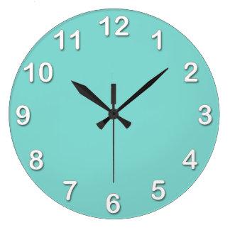 Solid Color: Turquoise Aqua Large Clock