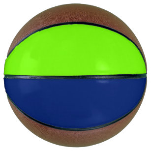 solid colour dark blue and  neon green basketball