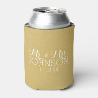 Solid Colour Gold - Mr & Mrs Wedding Favours Can Cooler