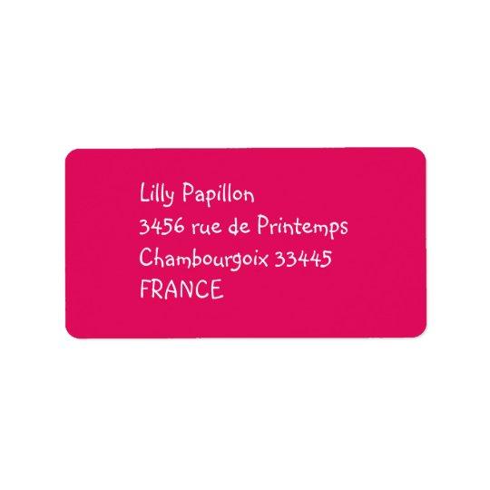 solid colour raspberry label