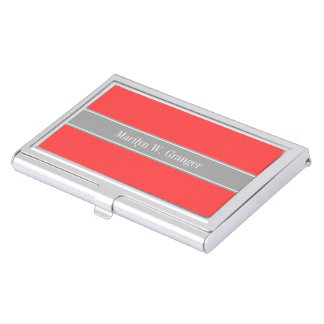 Solid Coral Red, Dark Gray Ribbon Name Monogram Business Card Holder