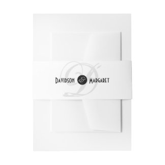 Solid Elegance Black and White Wedding Invitation Belly Band