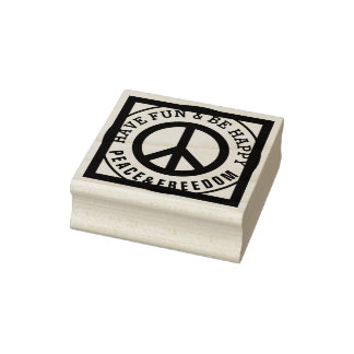Solid Frame & Icon - PEACE + your Text Rubber Stamp