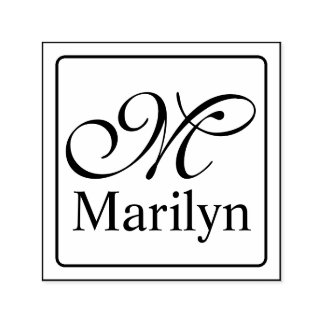 Solid Frame + your monogram & name Self-inking Stamp