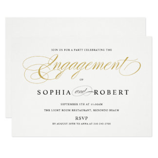 Solid Gold Elegant Calligraphy Engagement Monogram Card