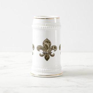 Solid Gold Fleur de Lis Stein Coffee Mug