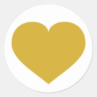 Solid gold heart round sticker