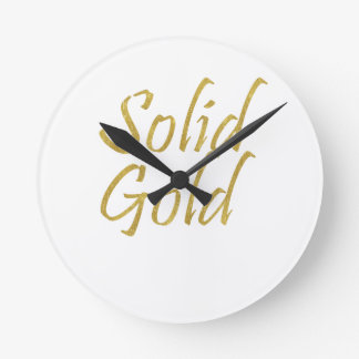 Solid Gold Round Clock