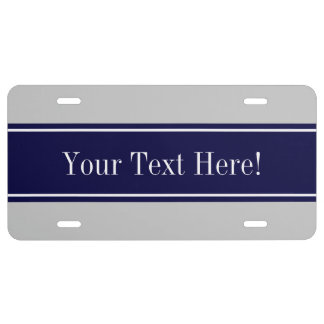 Solid Gray Navy Blue Ribbon Name Monogram License Plate