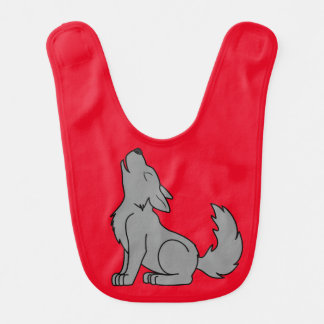 Solid Gray Wolf Pup Howling Baby Bibs