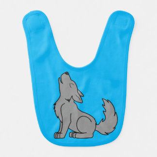 Solid Gray Wolf Pup Howling Bibs