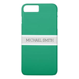 Solid Green-cyan Modern Ribbon Elegant Name iPhone 8 Plus/7 Plus Case