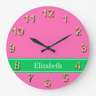 Solid Hot Pink #2 Emerald Green Rbn Name Monogram Large Clock