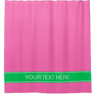 Solid Hot Pink 2 Emerald Green Rbn Name Monogram Shower Curtain