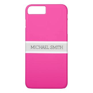 Solid Hot Pink Modern Ribbon Elegant Name iPhone 8 Plus/7 Plus Case