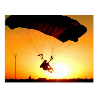 Solid landing parachute sunset postcard
