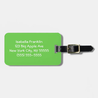 Solid Light Green Luggage Tag