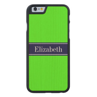 Solid Lime Green, Navy Blue Ribbon Name Monogram Carved® Maple iPhone 6 Slim Case
