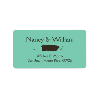 Solid Lucite Green Brown Wedding Style Address Label