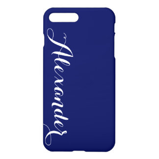 Solid Navy Blue Background, Name Monogram iPhone 7 Plus Case