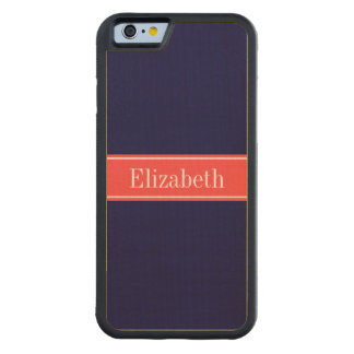 Solid Navy Blue, Coral Red Ribbon Name Monogram Maple iPhone 6 Bumper