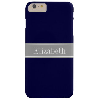Solid Navy Blue, Dark Gray Ribbon Name Monogram Barely There iPhone 6 Plus Case