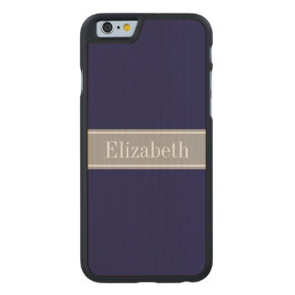 Solid Navy Blue, Dark Gray Ribbon Name Monogram Carved® Maple iPhone 6 Case