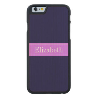 Solid Navy Blue, Lilac Ribbon Name Monogram Carved® Maple iPhone 6 Case