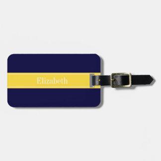 Solid Navy Blue, Pineapple Ribbon Name Monogram Luggage Tag