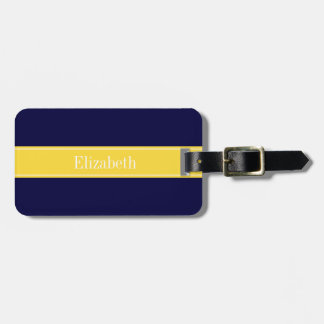Solid Navy Blue, Pineapple Ribbon Name Monogram Tag For Bags