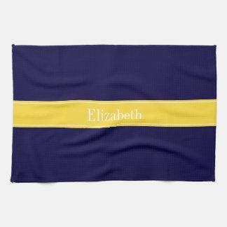 Solid Navy Blue, Pineapple Ribbon Name Monogram Tea Towel
