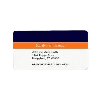 Solid Navy Blue, Pumpkin Ribbon Name Monogram Address Label