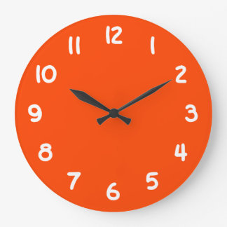 Solid Orange Red Large Clock