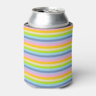 Solid Pastel Rainbow Stripes Can Cooler