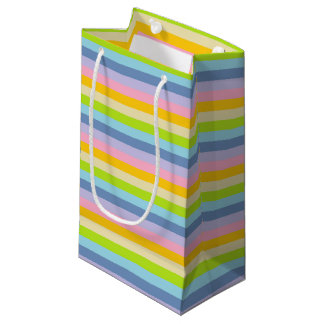 Solid Pastel Rainbow Stripes Small Gift Bag