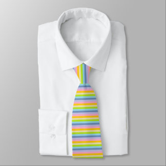 Solid Pastel Rainbow Stripes Tie