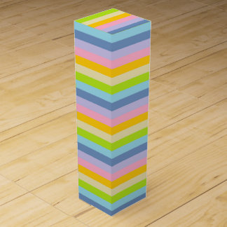 Solid Pastel Rainbow Stripes Wine Box