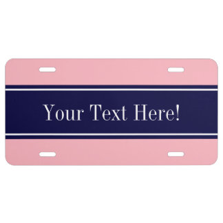 Solid Pink, Navy Blue Ribbon Name Monogram License Plate