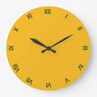 Solid Saffron Yellow / Gold with Roman Numerals Large Clock