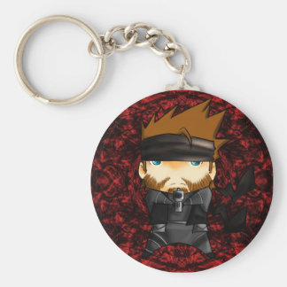 Solid snake 007 basic round button key ring