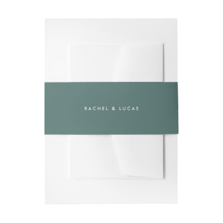 Solid Spruce Green Wedding Invitation Belly Band