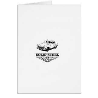 solid steel car white card
