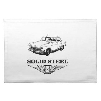 solid steel car white placemat