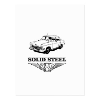 solid steel car white postcard
