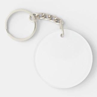 Solid White Single-Sided Round Acrylic Key Ring